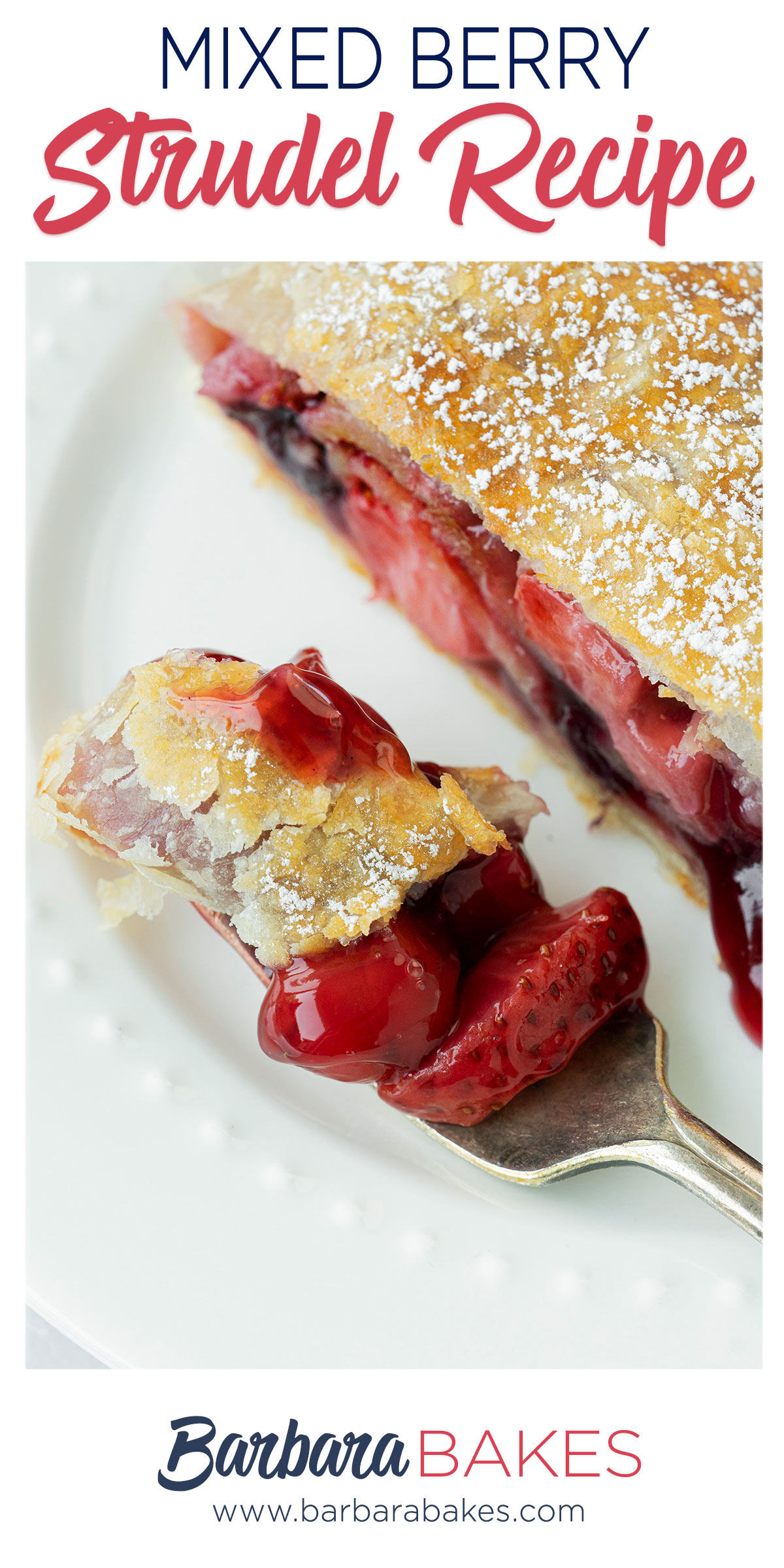 pinterest button for apple and berry strudel recipe