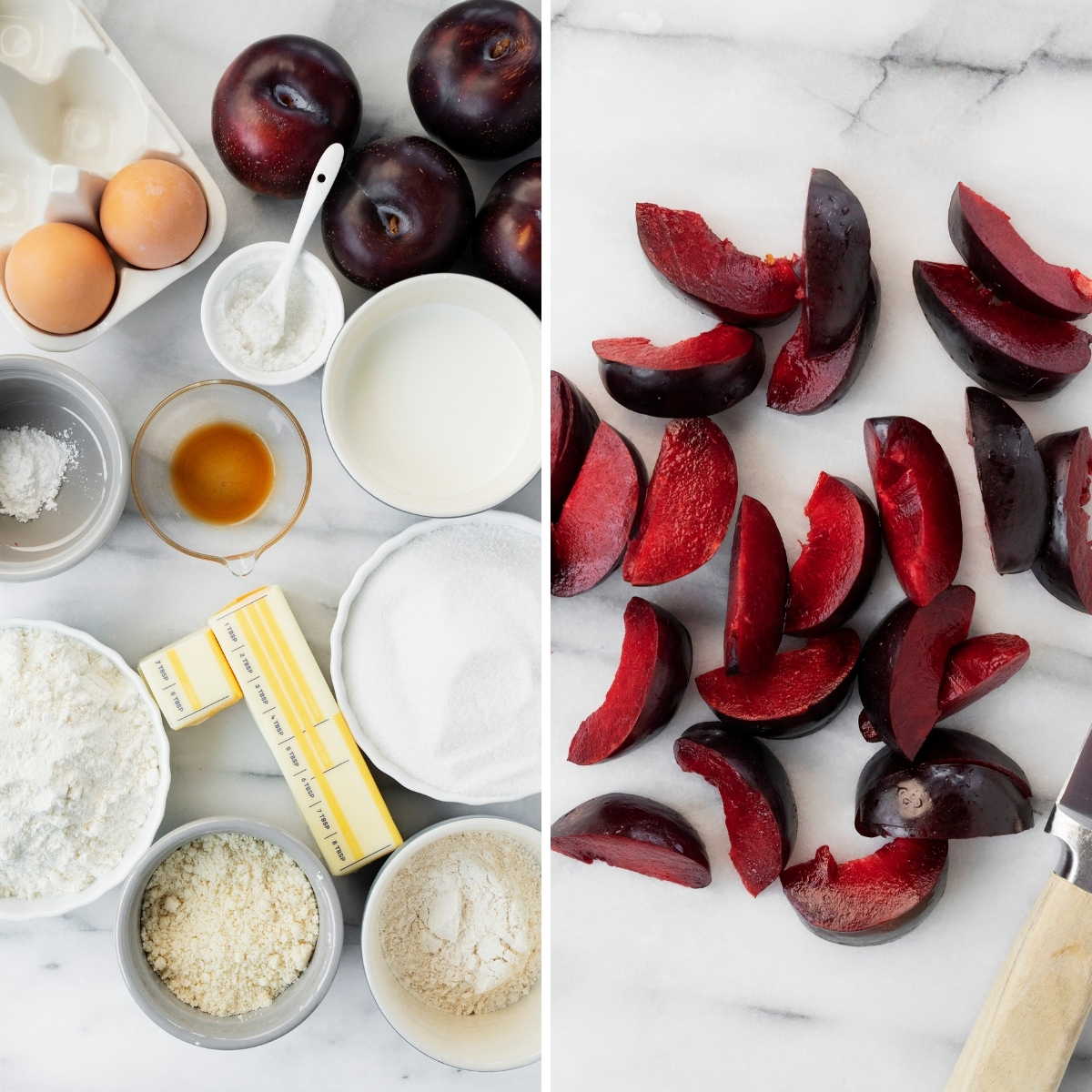 ingredients for plum cake, including sliced fresh red plums