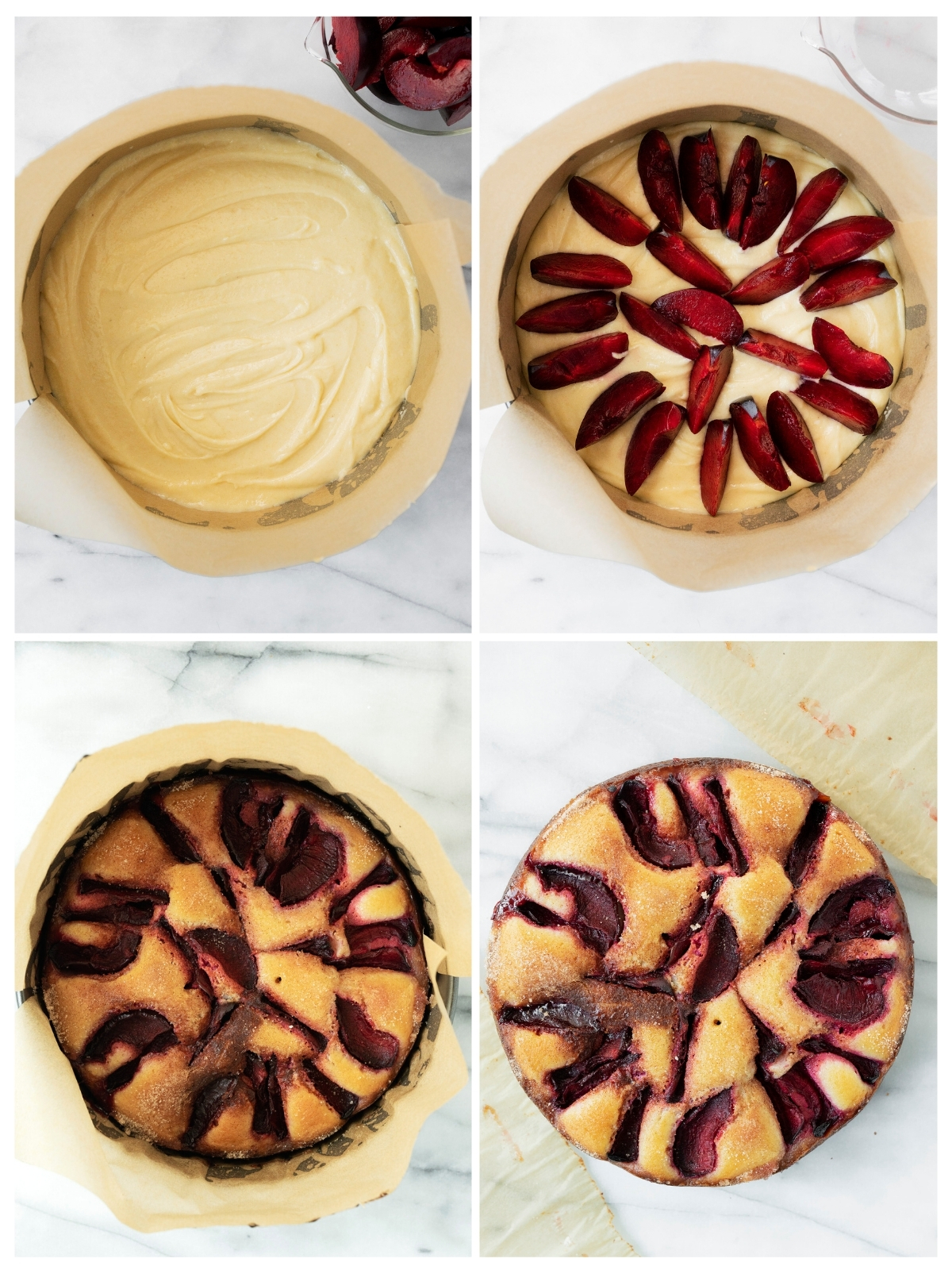 collage of filling and baking a cake with fresh plums