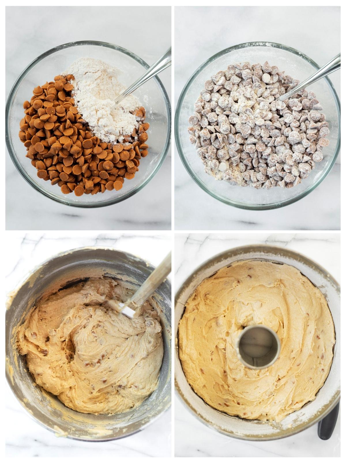 folding cinnamon chips into coffee cake
