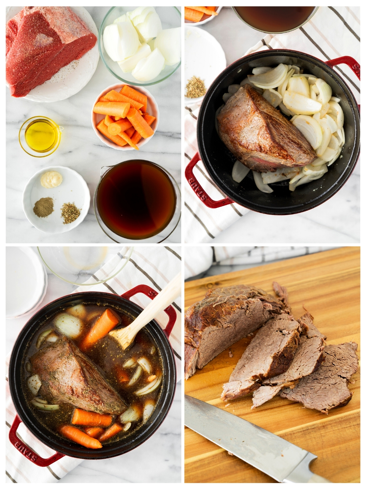 collage of the steps to make braised eye of round roast