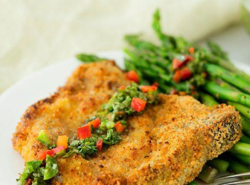 air fryer pork chop with green chimichurri sauce