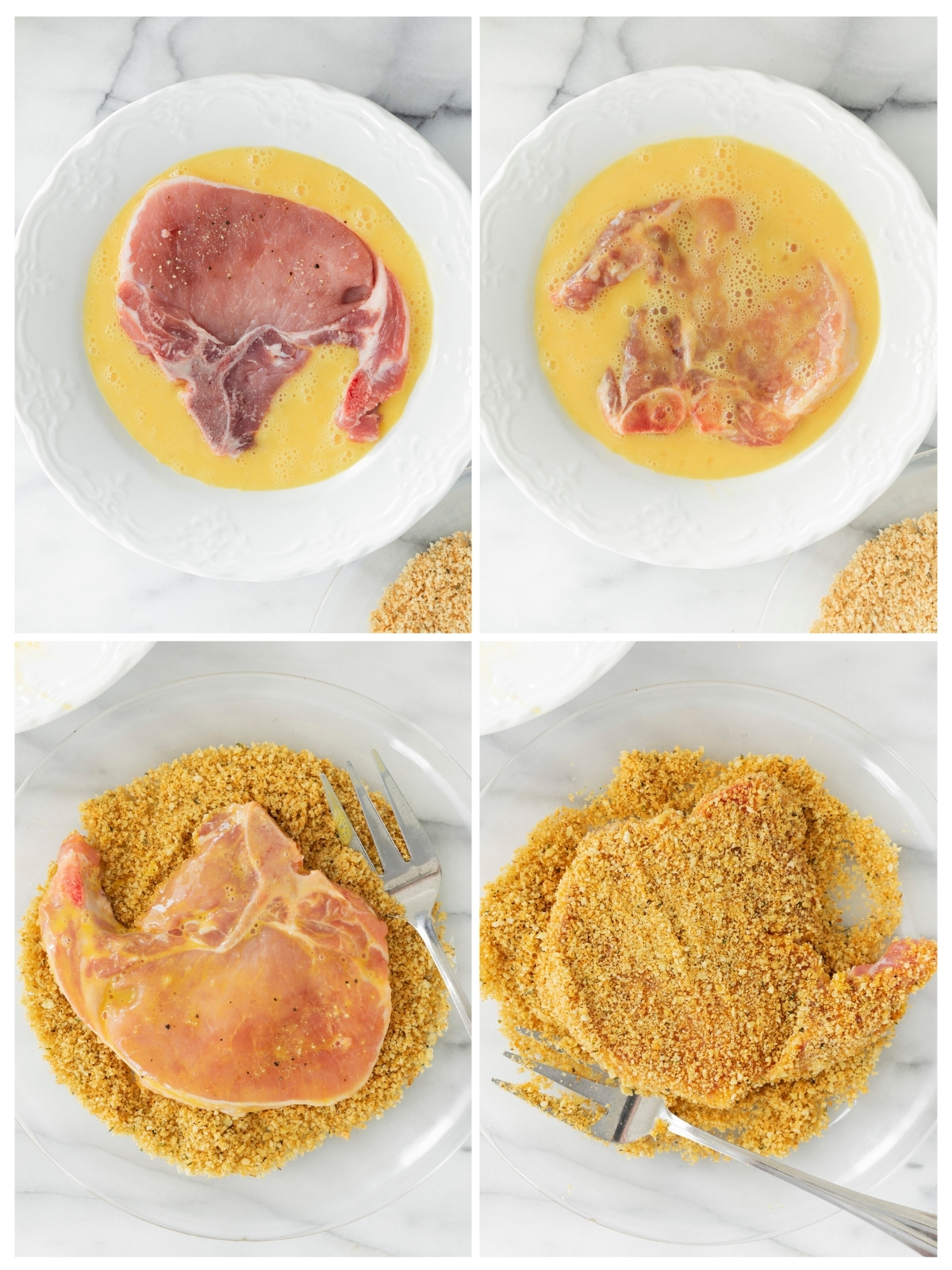 coating pork chops with egg and bread crumbs