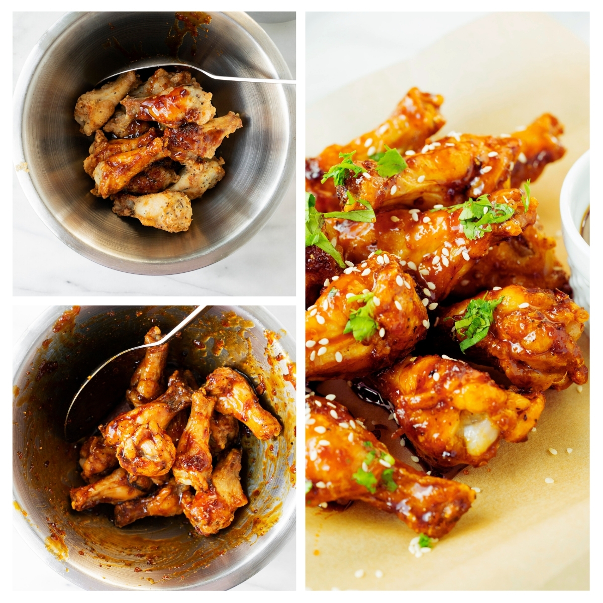 coating air fried chicken wings in sesame soy sauce