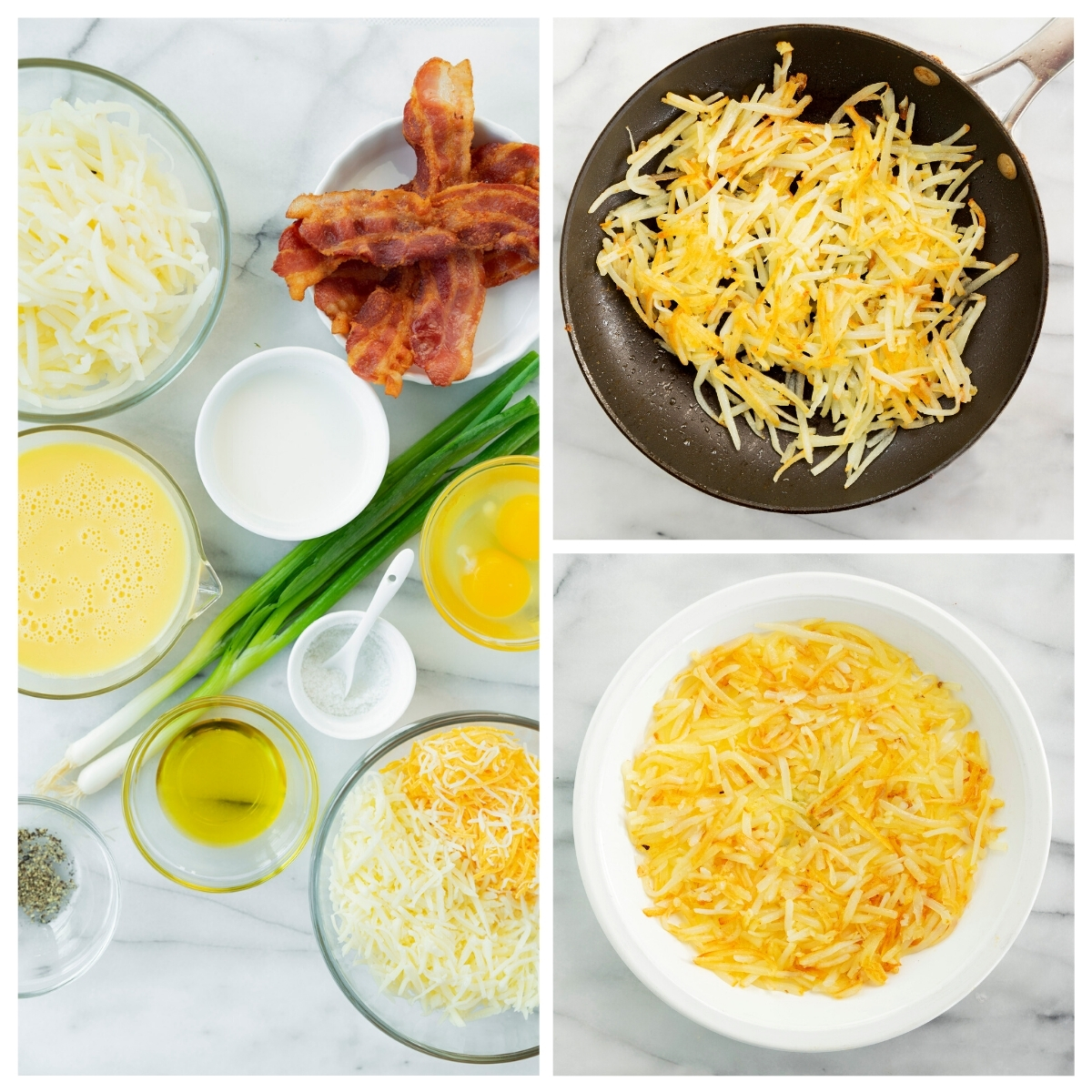 collage of ingredients and cooking hash browns for quiche
