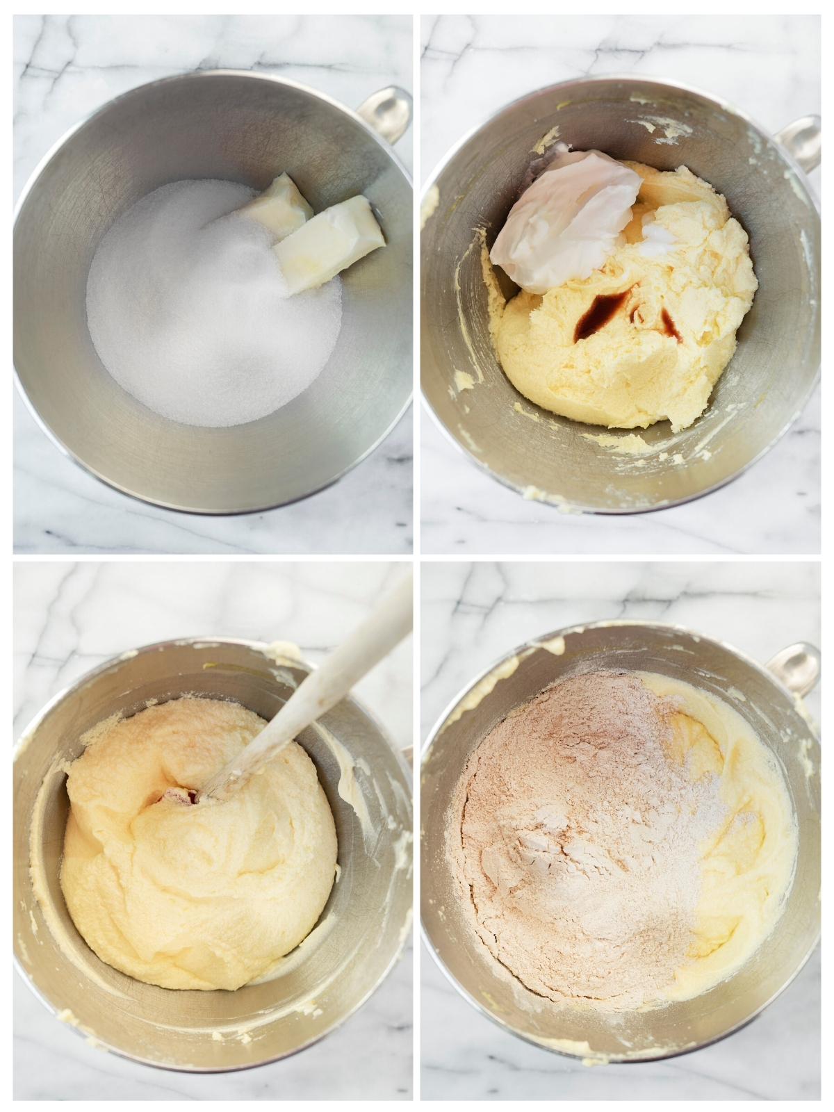 collage of steps to make batter for cinnamon coffee cake