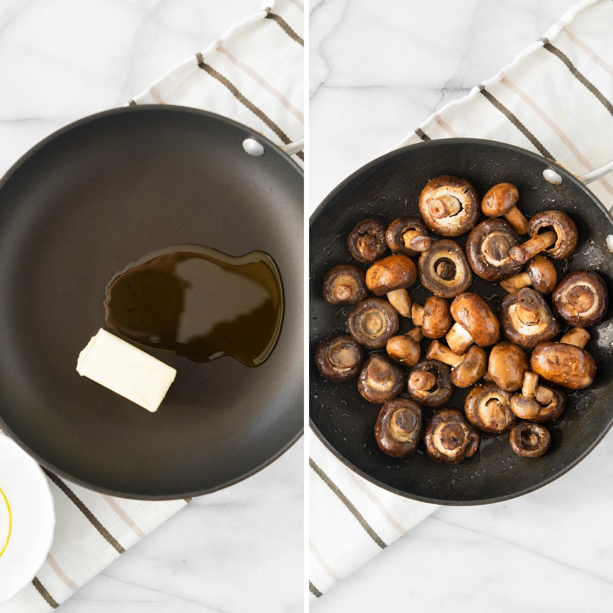 collage of sauteing whole mushrooms in butter in a skillet