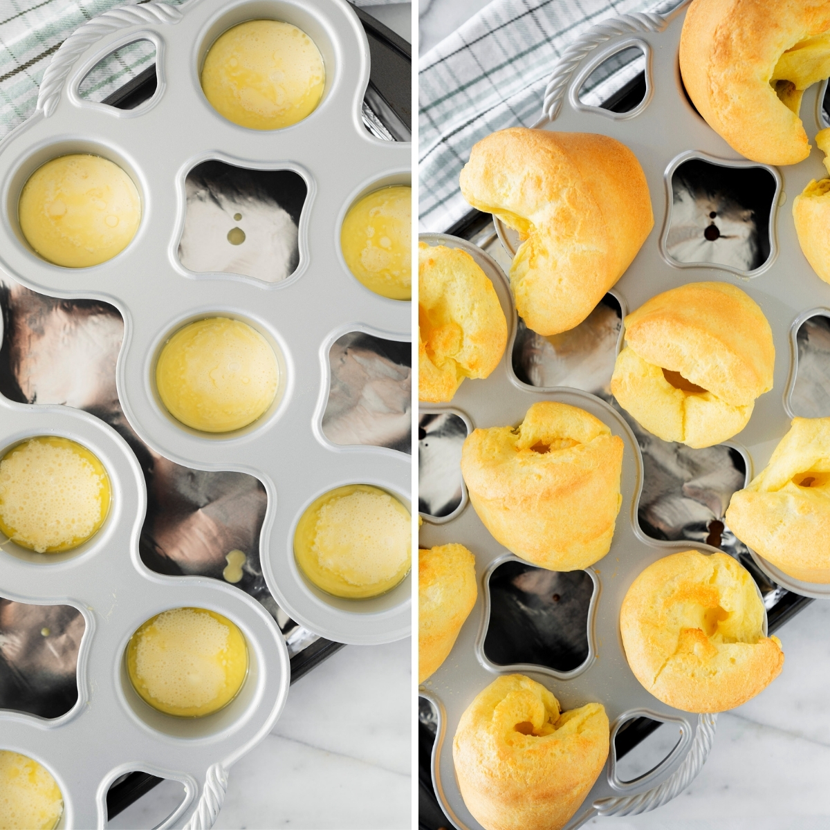 collage of yorkshire puddings before and after baking in the pan