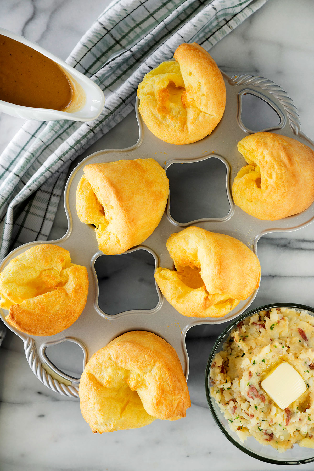 pan of popovers on a countertop