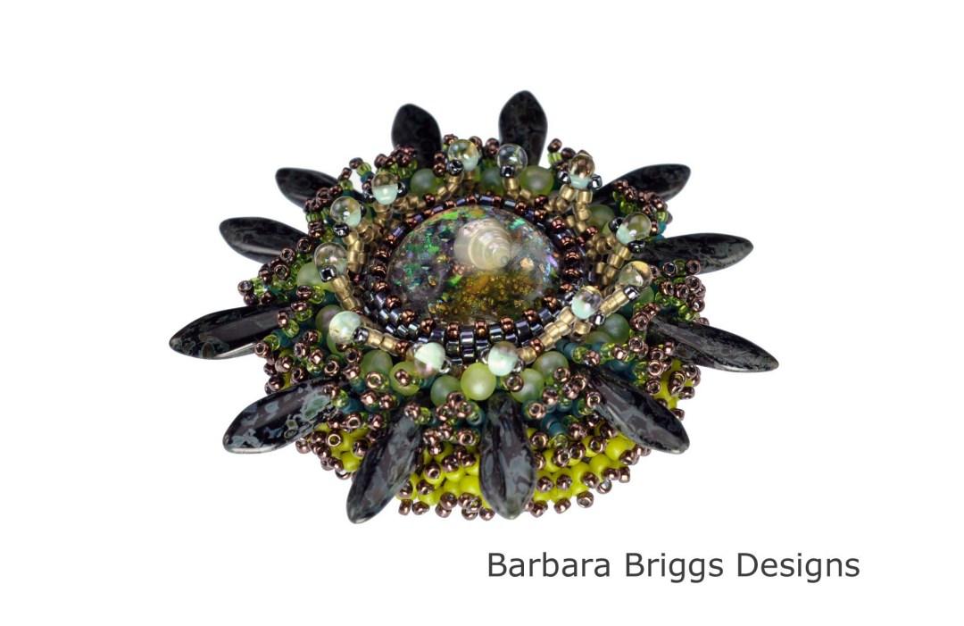 Marine Life Bead Embroidered Brooch - Black-Green Tones Beauty Shot