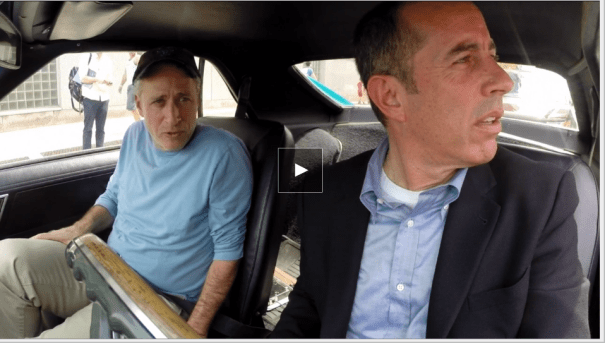 Jon Stewart, Jerry Seinfeld in an episode of Comedians In Cars Getting Coffee