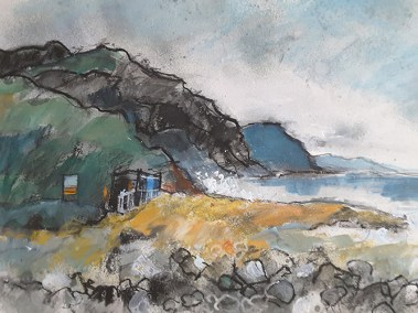 Soft rock Cafe Charmouth. Charcoal and Acrylic