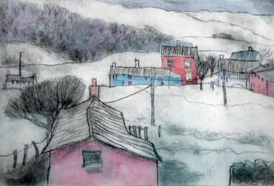 Marshwood - Snowy Morning - Etching by Barbara Green