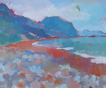 Charmouth Beach. Oil Painting.