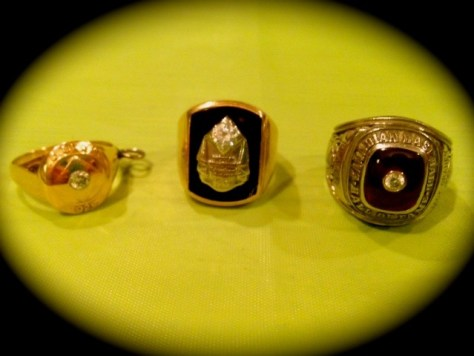 Jack Graney's 1920 World Series ring, 1948 World Series ring, and 1984 Canadian Baseball Hall of Fame ring, Photo Courtesy of Margot Graney Mudd and Perry Mudd Smith