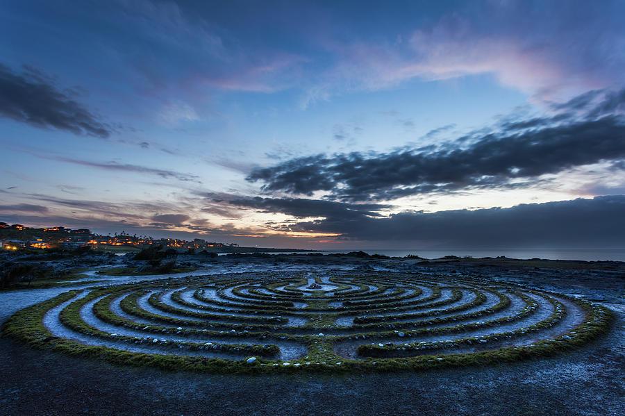 Het labyrint van San Francisco, bij avondlicht