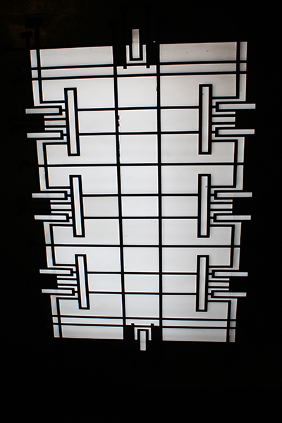 """The skylight conveniently located in the """"Mystery Room"""" where men disappeared to after dinner."""