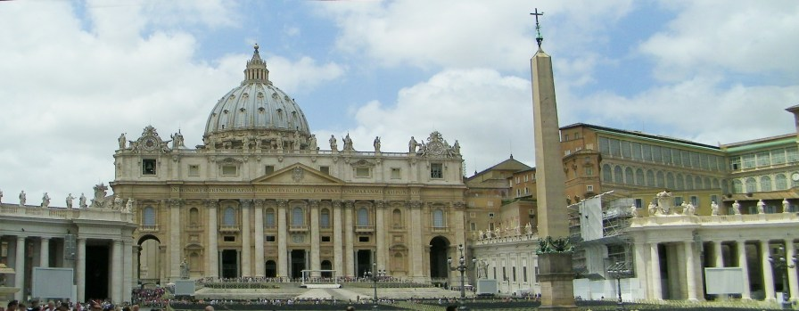 St Peter's Basilica, the Egyptian Obelisk and to the right is the Apostolic Palace, which continues in the next photo.