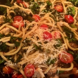chicken parmesan kale pasta_close up