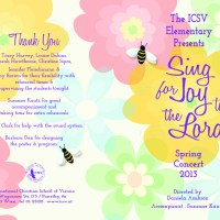 The 2013 ICSV Elementary School Spring Concert Program - Almost finished...