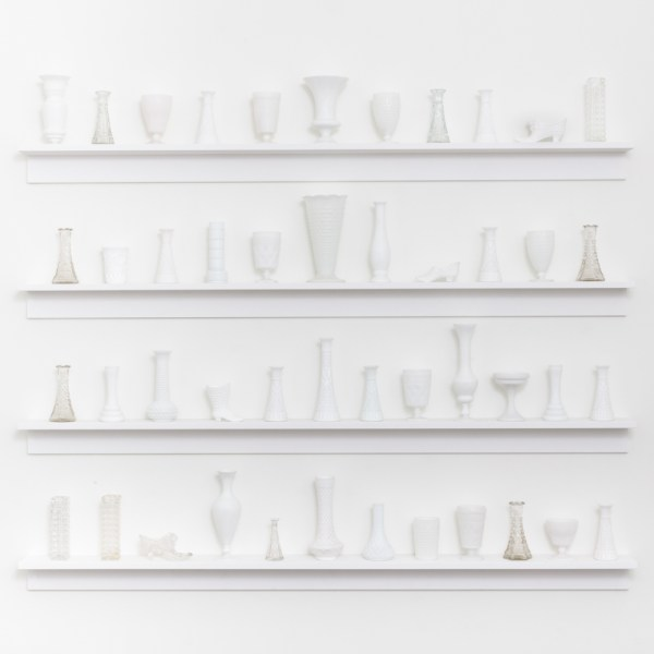 Articles of China 2016 Milk glass vases, wooden shelving Dimensions Variable