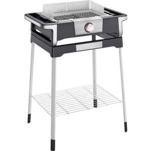 Severin SENOA STYLE S Elektrische barbecue Uitvoering: Elektrisch Kabelgebonden, Met handmatige temperatuursinstelling, Met voet Zwart, Zilver