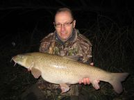 Andy with a new PB barbel - and near-record for the venue - of 17-12, St Patrick's Stream, March 2017