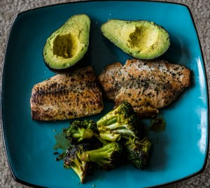 Avocado, salmon pan-fried in grass fed butter and herbs, and broccoli that was stir-fried in butter, thai chilli garlic sauce, and soy sauce.