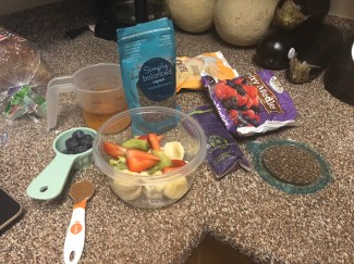 All the ingredients for the acai bowl