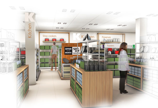 kitchen ware visual designs by Barber for the new Heatons store