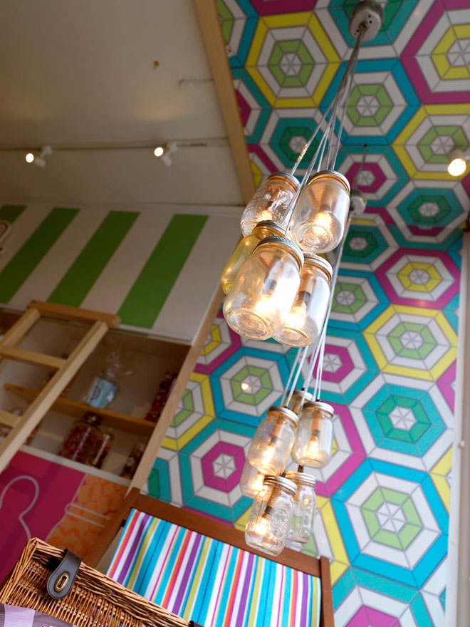 bright retro designs and candy striped walls at Sweet as a Button
