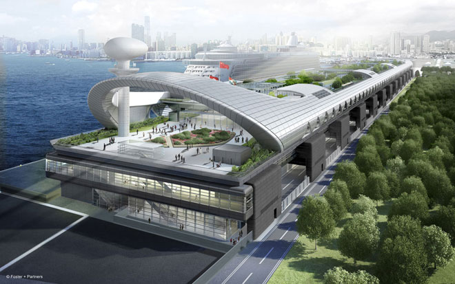 Artists visualisation of the newly finished Kai Tak Cruise Ship Terminal