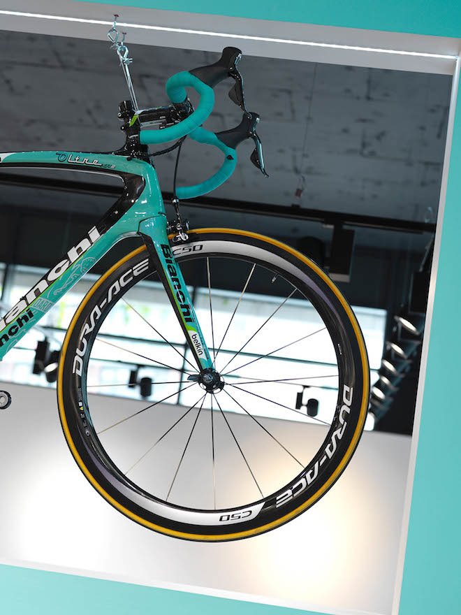colourful bike that matches interior design colour
