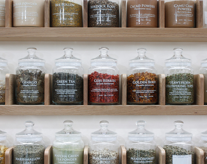 A row of jars inside the new Neals Yard Liverpool Street store