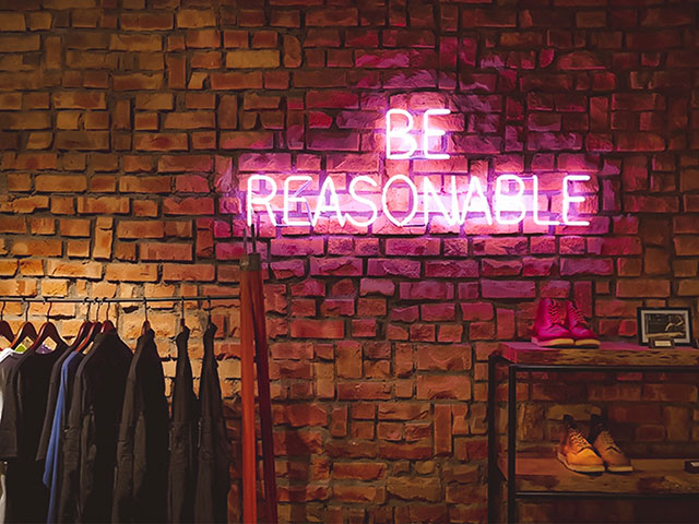 A neon shop sign