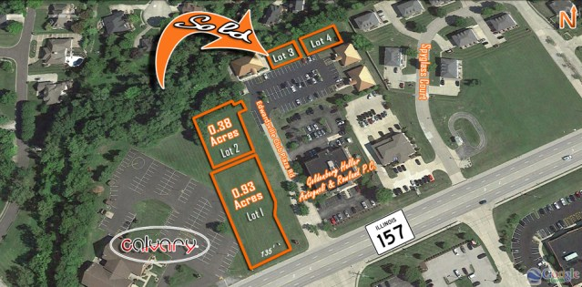 Aerial view of lots available in Edwardsville Club Plaza