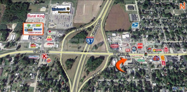 Area Map for 708 West Main St., Benton, IL - Potential Redevelopment Site