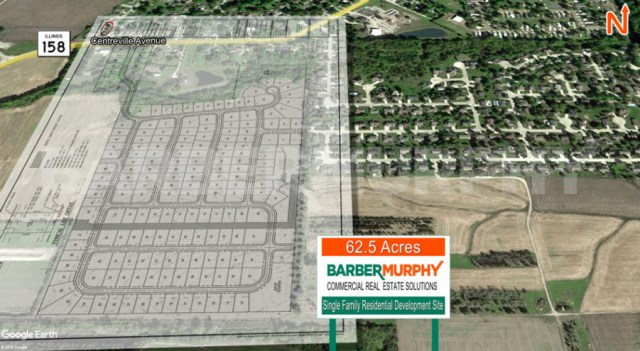 Site Map of 62.5 Acre Single Family Residential development Site, IL Route 158, Belleville, IL 62220