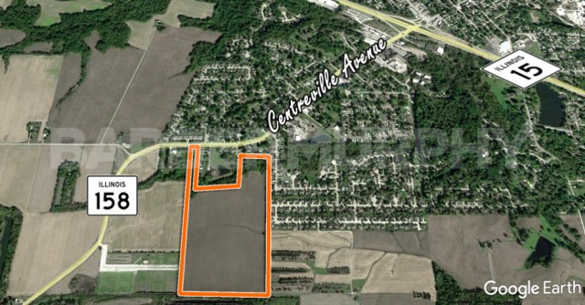 Aerial Image of 62.5 Acre Single Family Residential development Site, IL Route 158, Belleville, IL 62220