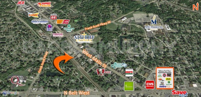 Area Map for Fully Leased 17 Unit Apartment Building for Sale, 23 South 53rd, Belleville, Illinois 62226