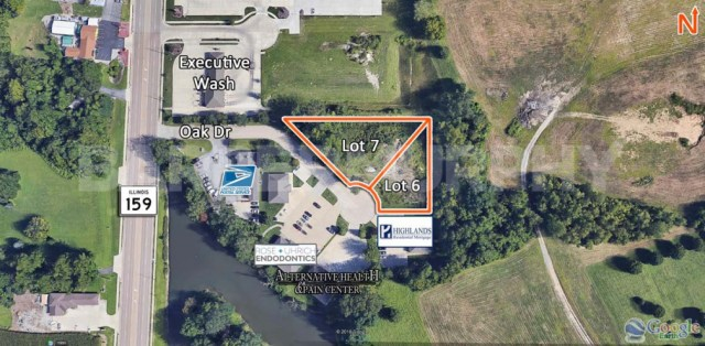 Site Map of Lots 6 and 7 for Sale on Oak Drive in Maryville, IL