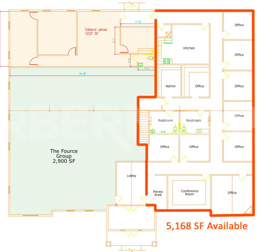Floor Plan of Office Building at 631 N Main St., O'Fallon, IL 62269