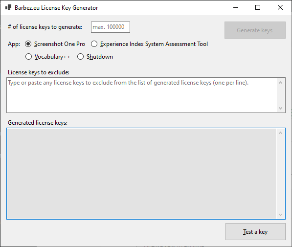 The Barbez.eu License Key Generator as it appears when launched.