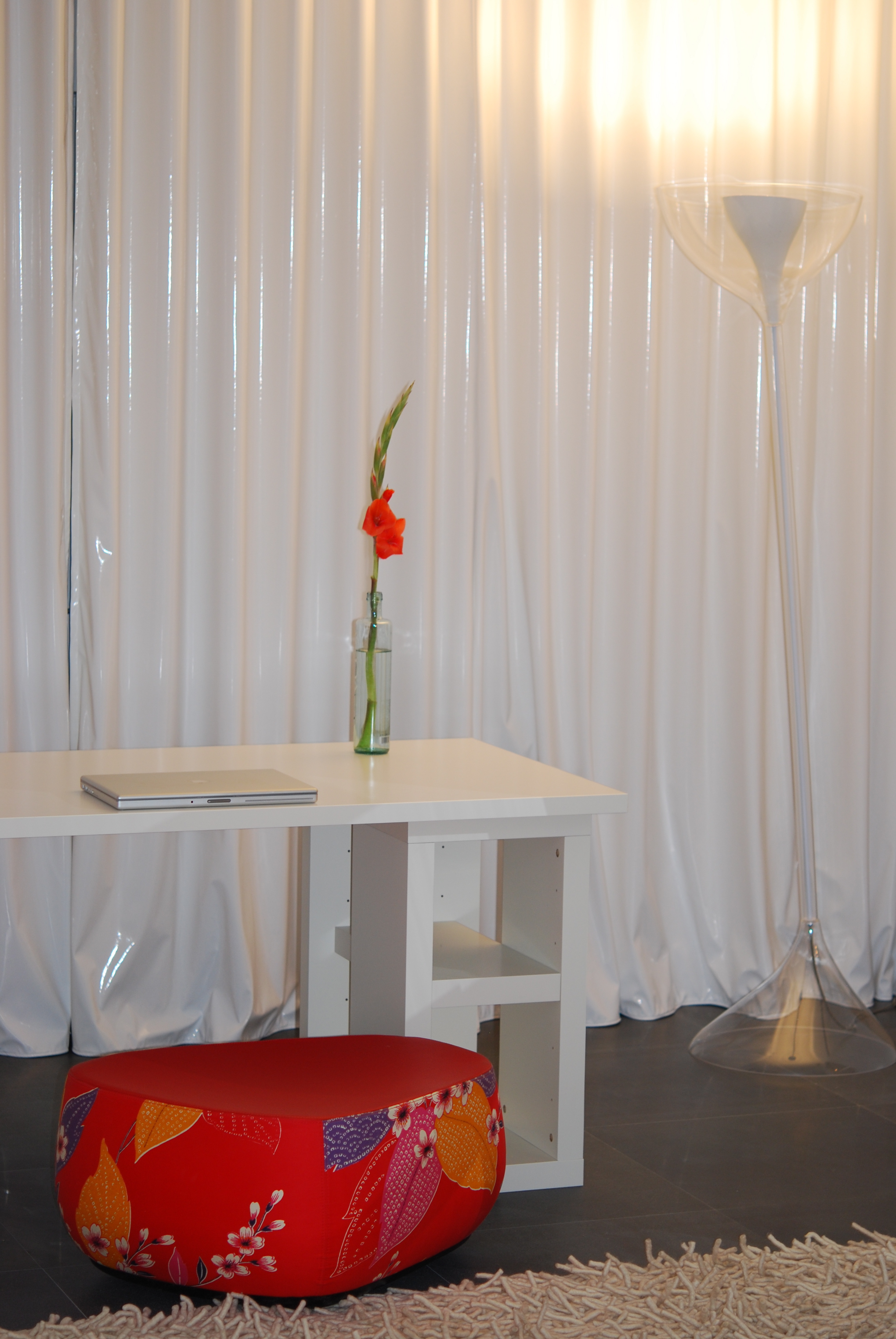 a desk, a chair