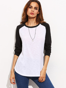 Color Block Round Neck Raglan Long Sleeve T-shirt