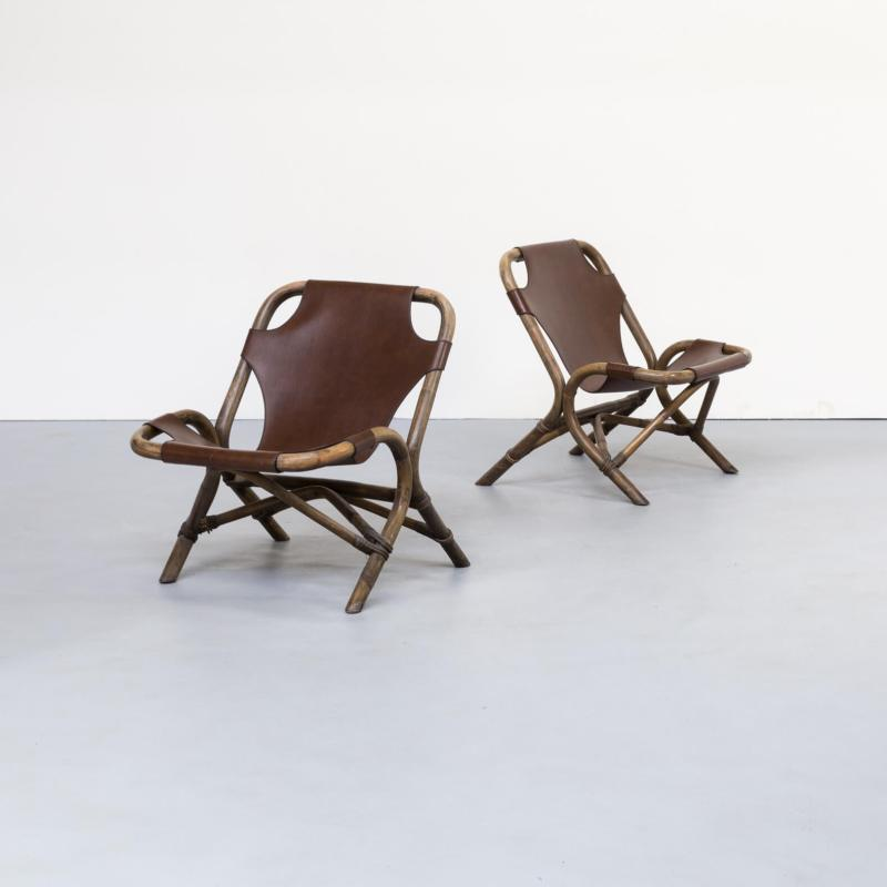 bamboo lounge chair, set, 80s, saddle leather, brown