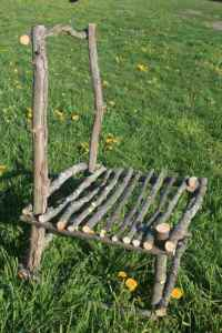 Homemade chair from apple tree prunings