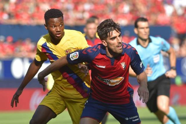 La Liga title race: Ansu Fati in action against Osasuna