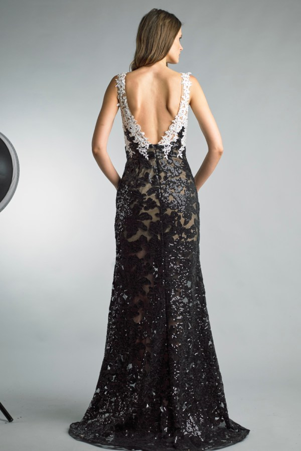 Two Toned Lace Sequined Gown
