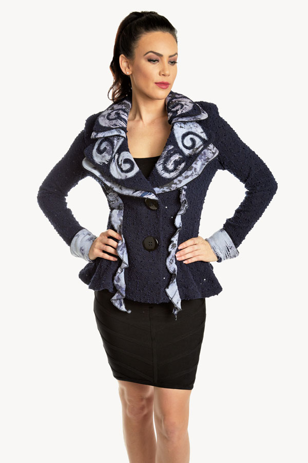 Fitted Boucle Knit Jacket with Denim Trim Details